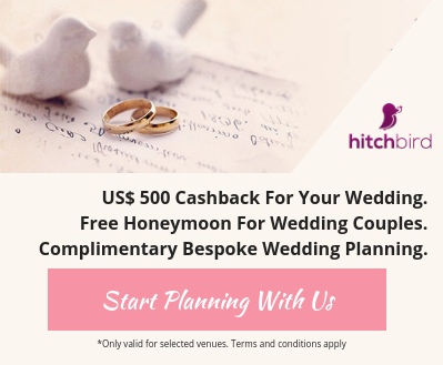 US$500 cashback for your wedding. Free honeymoon for wedding couples. Complimentary bespoke luxury wedding planning.