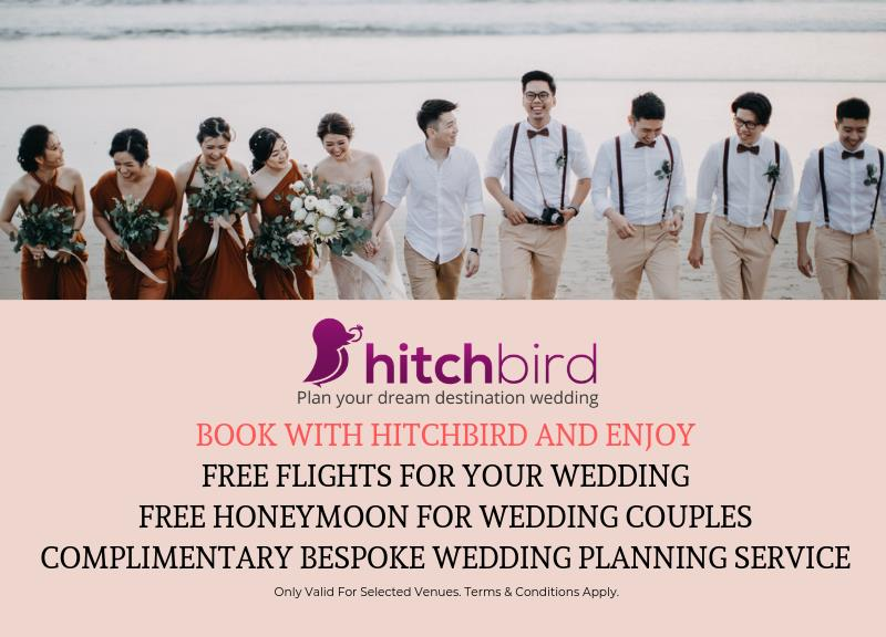 Free flights for your wedding. Free honeymoon for wedding couples. Complimentary bespoke luxury Wedding Planning.
